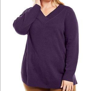 1X 2X Style & Co Purple V Neck Sweater Plus Size
